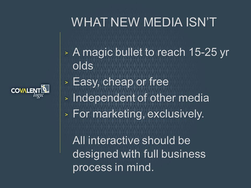 WHAT NEW MEDIA ISNT A magic bullet to reach 15-25 yr olds Easy, cheap or free Independent of other media For marketing, exclusively.