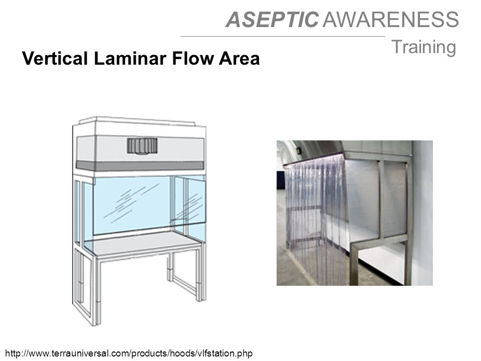 ASEPTIC AWARENESS Training Vertical Laminar Flow Area http://www.terrauniversal.com/products/hoods/vlfstation.php