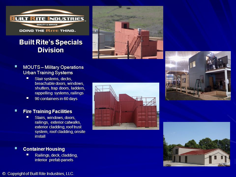 Built Rites Specials Division MOUTS – Military Operations Urban Training Systems MOUTS – Military Operations Urban Training Systems Stair systems, dec