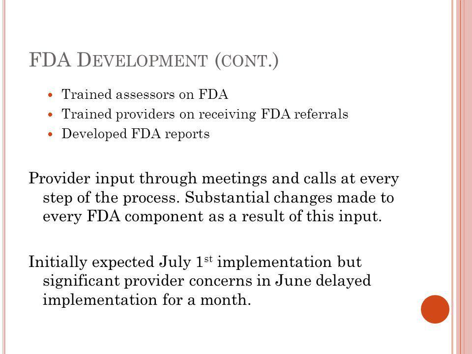P ROVIDER FDA C ONCERNS No provider refused to participate in FDA.
