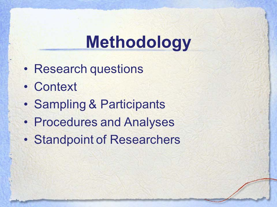 Methodology Research questions Context Sampling & Participants Procedures and Analyses Standpoint of Researchers
