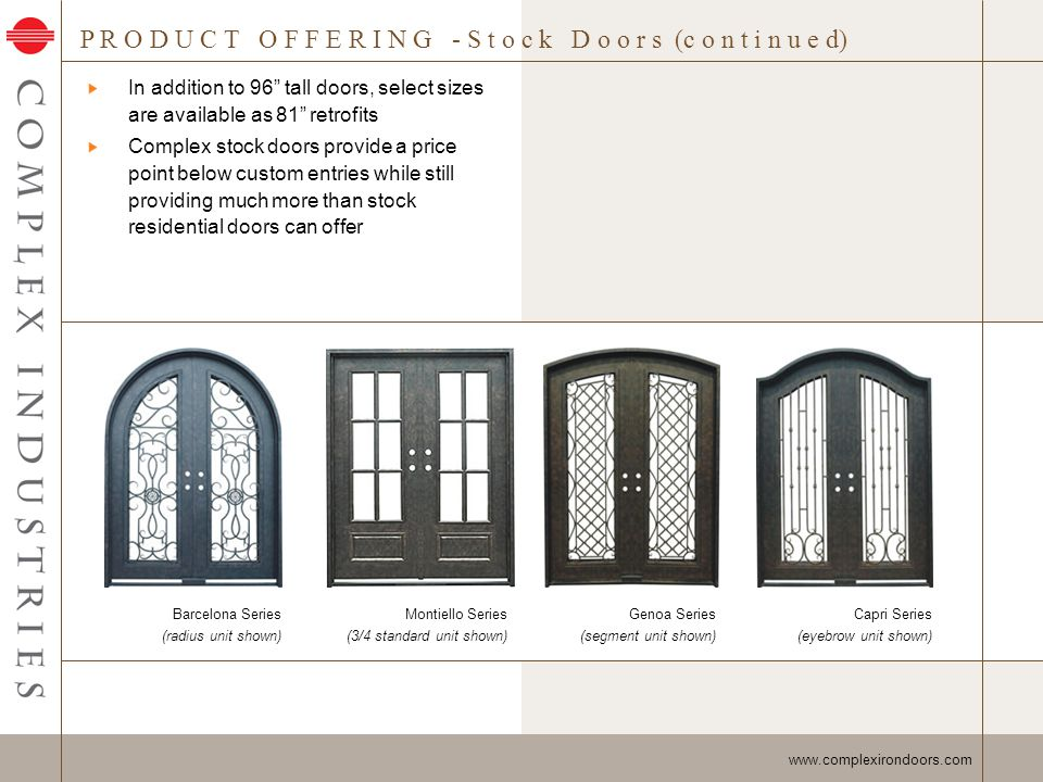 T R I M O P T I O N S www.complexirondoors.com Multiple trim options are available to finish out door and accommodate buildings exterior facade VIK629PR 1 x 2-1/2 Stucco Trim 4064-BR 1-1/4 x 2 Brickmould KCR627PR 7/8 x 1-7/8 Overlapping ABS34X112 3/4 x 1-1/2 Flat Stock