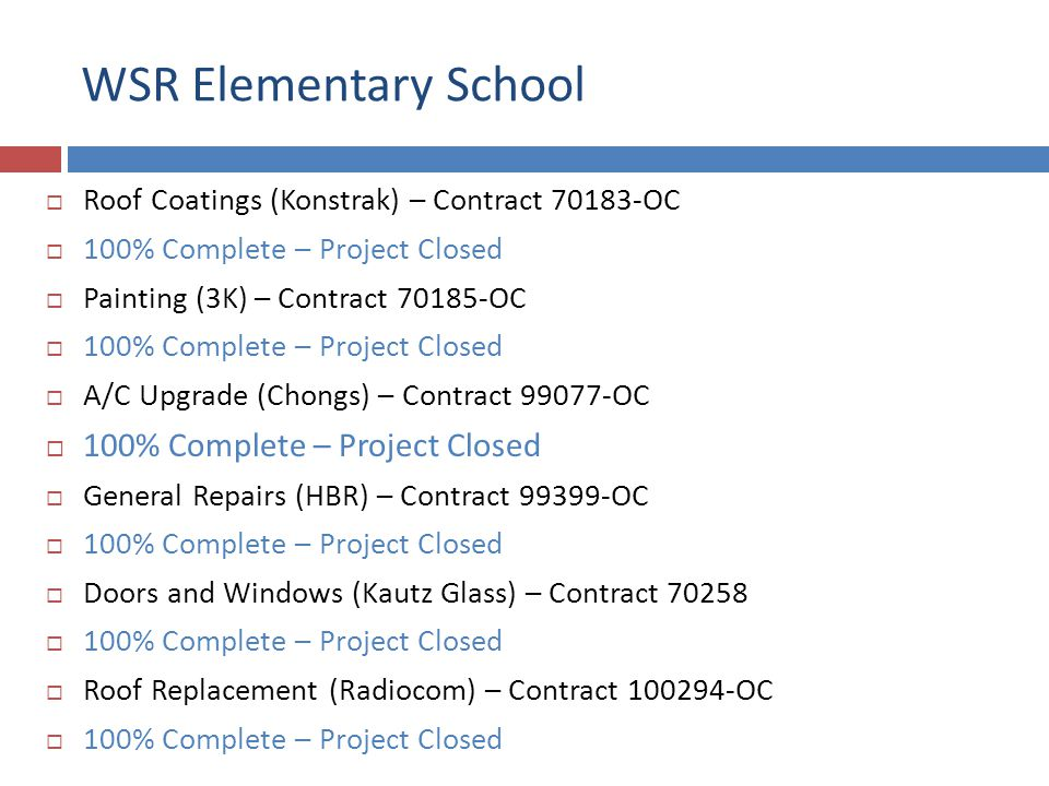 WSR Elementary School Roof Coatings (Konstrak) – Contract 70183-OC 100% Complete – Project Closed Painting (3K) – Contract 70185-OC 100% Complete – Project Closed A/C Upgrade (Chongs) – Contract 99077-OC 100% Complete – Project Closed General Repairs (HBR) – Contract 99399-OC 100% Complete – Project Closed Doors and Windows (Kautz Glass) – Contract 70258 100% Complete – Project Closed Roof Replacement (Radiocom) – Contract 100294-OC 100% Complete – Project Closed