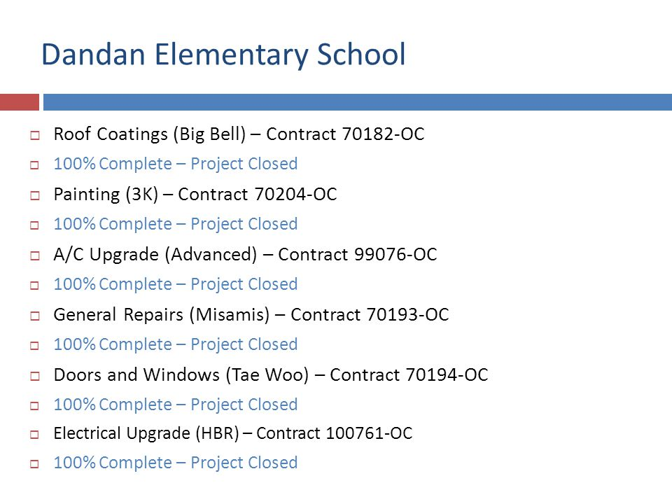 Dandan Elementary School Roof Coatings (Big Bell) – Contract 70182-OC 100% Complete – Project Closed Painting (3K) – Contract 70204-OC 100% Complete –