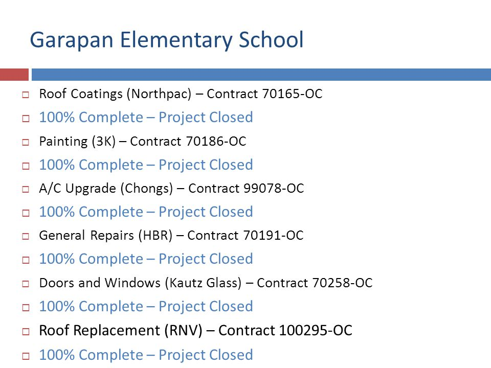 Garapan Elementary School Roof Coatings (Northpac) – Contract 70165-OC 100% Complete – Project Closed Painting (3K) – Contract 70186-OC 100% Complete