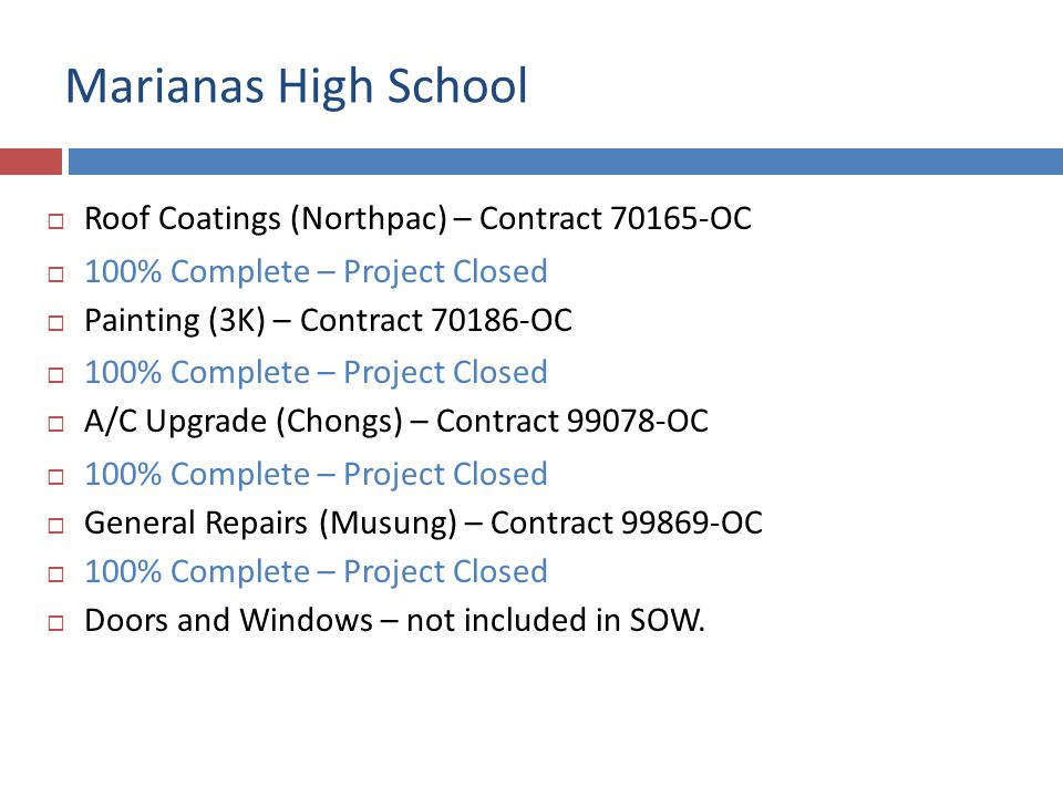 Marianas High School Roof Coatings (Northpac) – Contract 70165-OC 100% Complete – Project Closed Painting (3K) – Contract 70186-OC 100% Complete – Pro