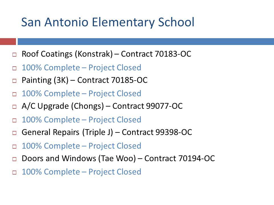 San Antonio Elementary School Roof Coatings (Konstrak) – Contract 70183-OC 100% Complete – Project Closed Painting (3K) – Contract 70185-OC 100% Complete – Project Closed A/C Upgrade (Chongs) – Contract 99077-OC 100% Complete – Project Closed General Repairs (Triple J) – Contract 99398-OC 100% Complete – Project Closed Doors and Windows (Tae Woo) – Contract 70194-OC 100% Complete – Project Closed