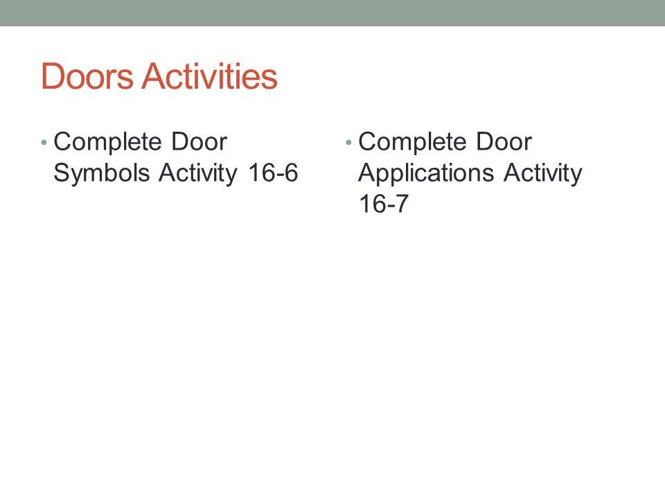 Doors Activities Complete Door Symbols Activity 16-6 Complete Door Applications Activity 16-7