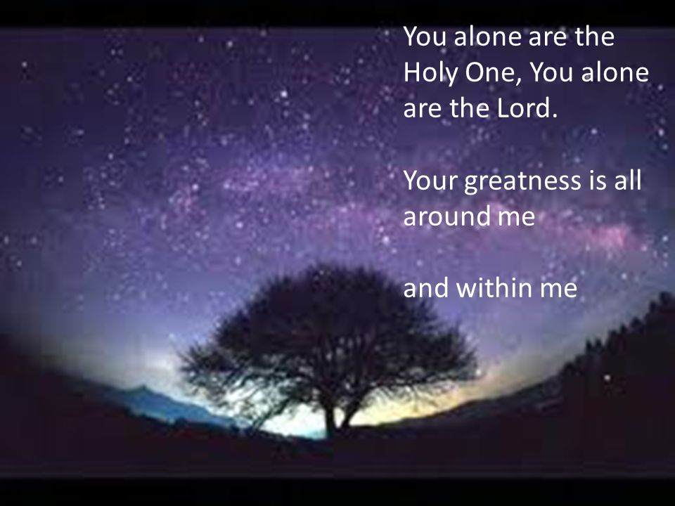 You alone are the Holy One, You alone are the Lord. Your greatness is all around me and within me