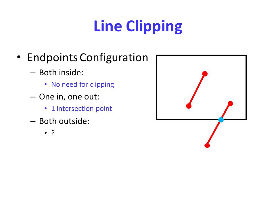 Line Clipping Endpoints Configuration – Both inside: No need for clipping – One in, one out: 1 intersection point – Both outside: ?