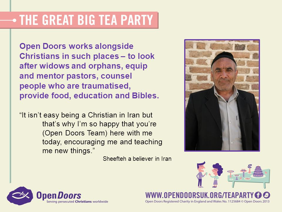 Open Doors works alongside Christians in such places – to look after widows and orphans, equip and mentor pastors, counsel people who are traumatised, provide food, education and Bibles.