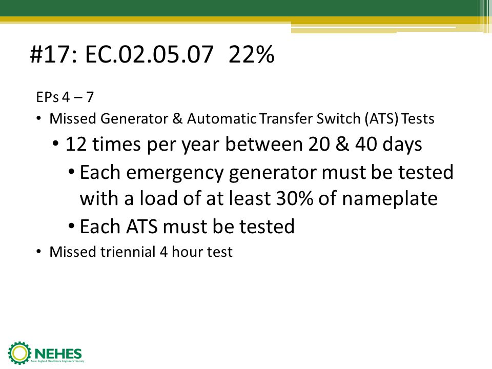 #17: EC.02.05.07 22% EPs 4 – 7 Missed Generator & Automatic Transfer Switch (ATS) Tests 12 times per year between 20 & 40 days Each emergency generato