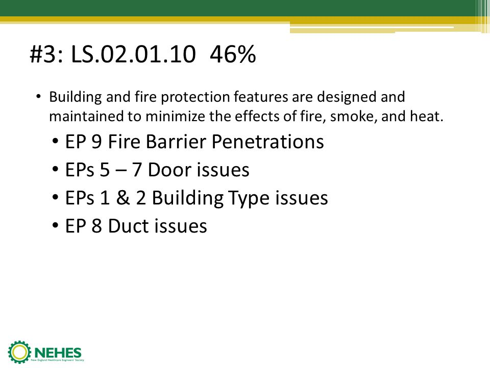 #7: EC.02.06.01 35% EP 1 Interior spaces meet the needs of the patient population and are safe and suitable to the care, treatment and services provided The organization must provide a safe environment Unsecured oxygen cylinders Child safe plugs