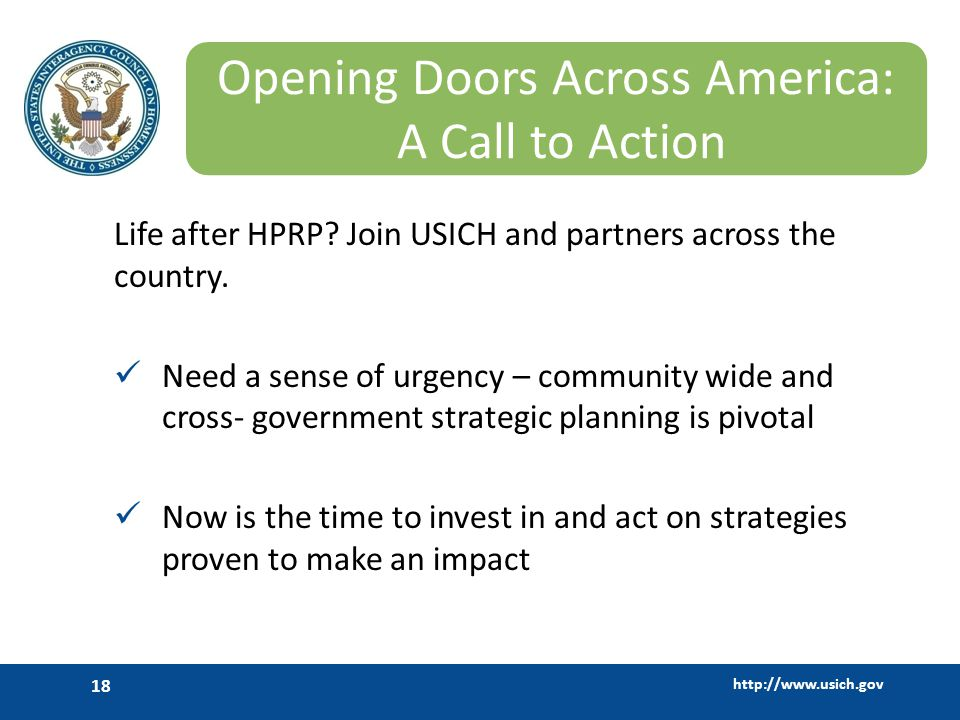 http://www.usich.gov 18 Opening Doors Across America: A Call to Action Life after HPRP.