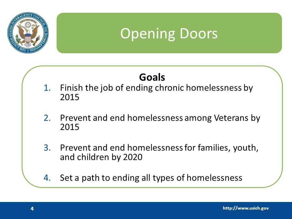 http://www.usich.gov 5 Opening Doors: Five Themes 1.Increase leadership, collaboration, and civic engagement 2.Increase access to stable and affordable housing 3.Increase economic security 4.Improve health and stability 5.Retool the homeless crisis response system