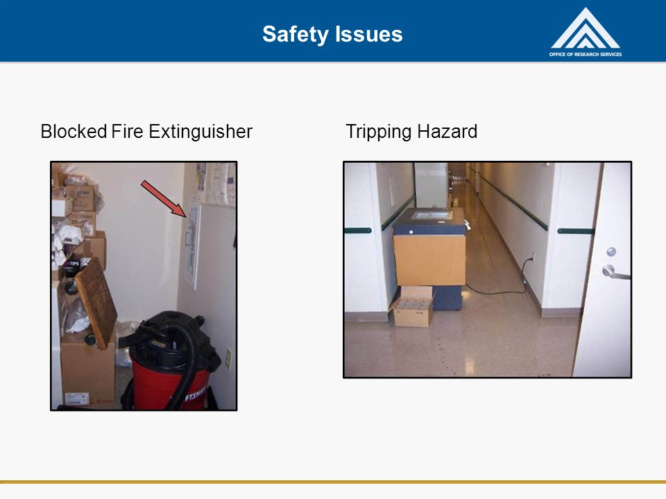 Safety Issues Blocked Fire ExtinguisherTripping Hazard