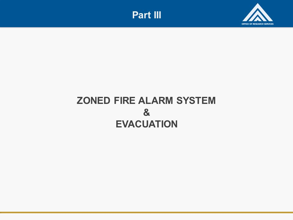 Part III ZONED FIRE ALARM SYSTEM & EVACUATION
