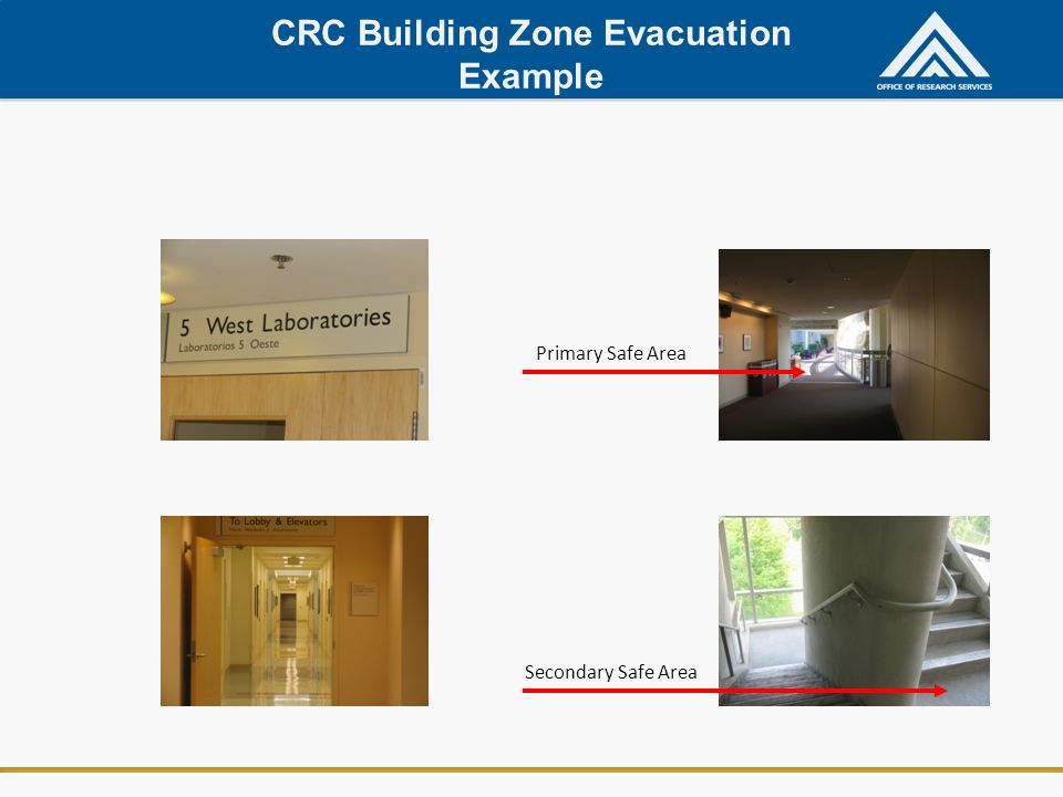 CRC Building Zone Evacuation Example Primary Safe Area Secondary Safe Area