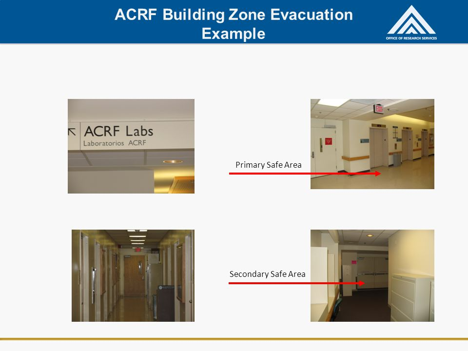 ACRF Building Zone Evacuation Example Primary Safe Area Secondary Safe Area