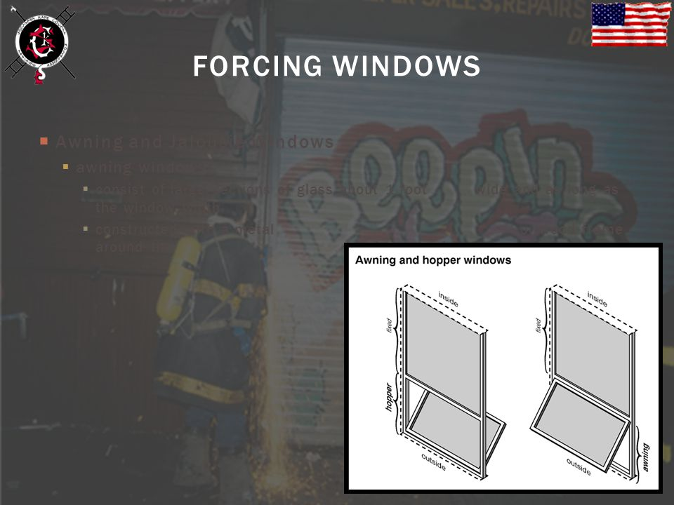 Awning and Jalousie Windows awning windows consist of large sections of glass about 1 foot wide and as long as the window width constructed with a met