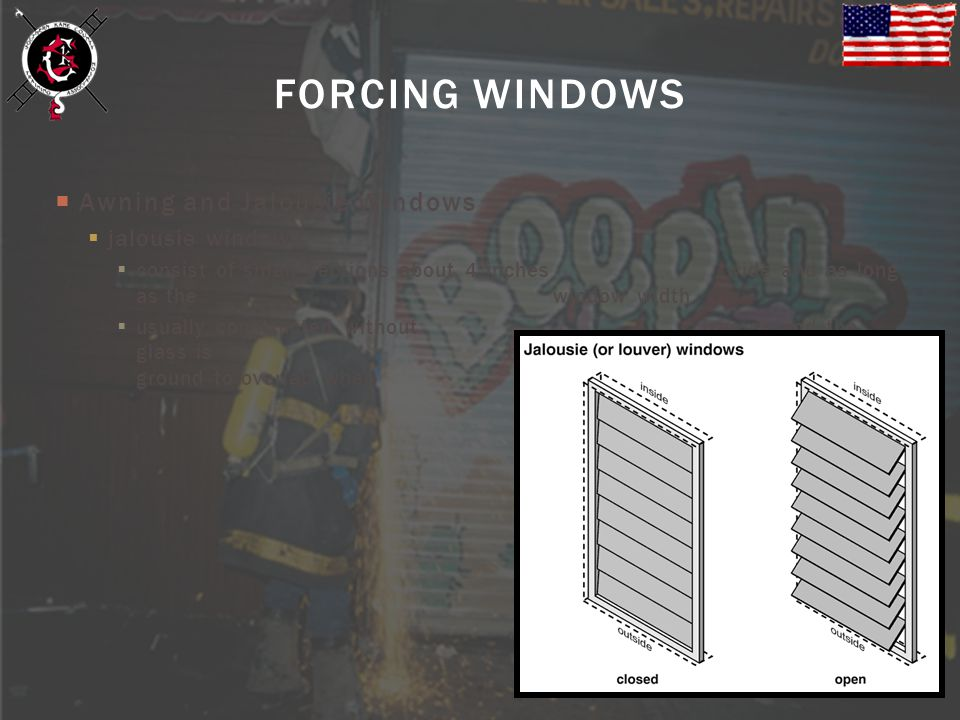 Awning and Jalousie Windows jalousie windows consist of small sections about 4 inches wide and as long as the window width usually constructed without