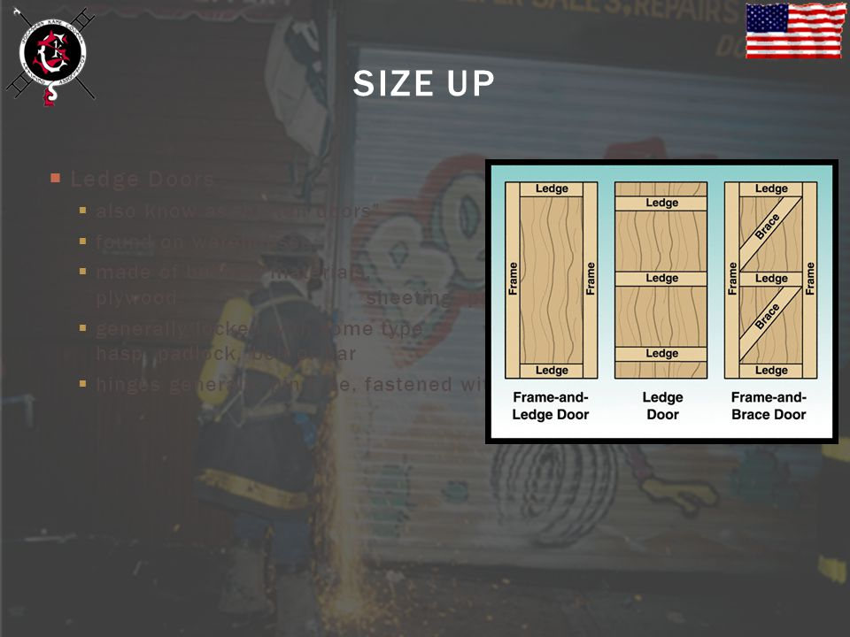 Ledge Doors also know as batten doors found on warehouses, storerooms, barns and sheds made of built-up materials, including boards, plywood sheeting,
