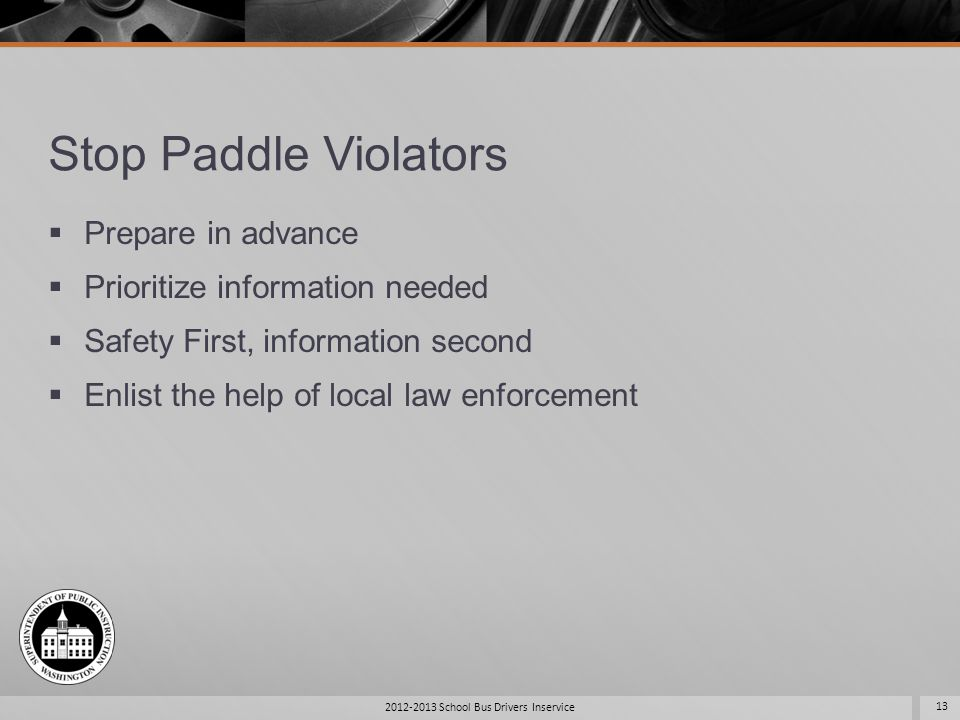 Stop Paddle Violators Prepare in advance Prioritize information needed Safety First, information second Enlist the help of local law enforcement 2012-