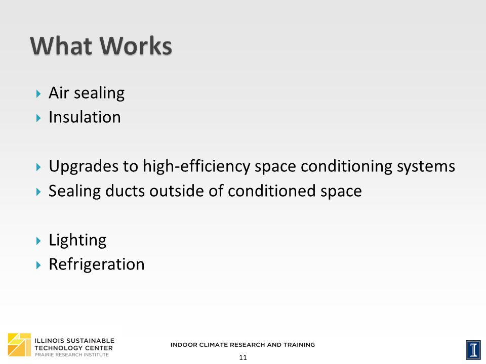 11 Air sealing Insulation Upgrades to high-efficiency space conditioning systems Sealing ducts outside of conditioned space Lighting Refrigeration