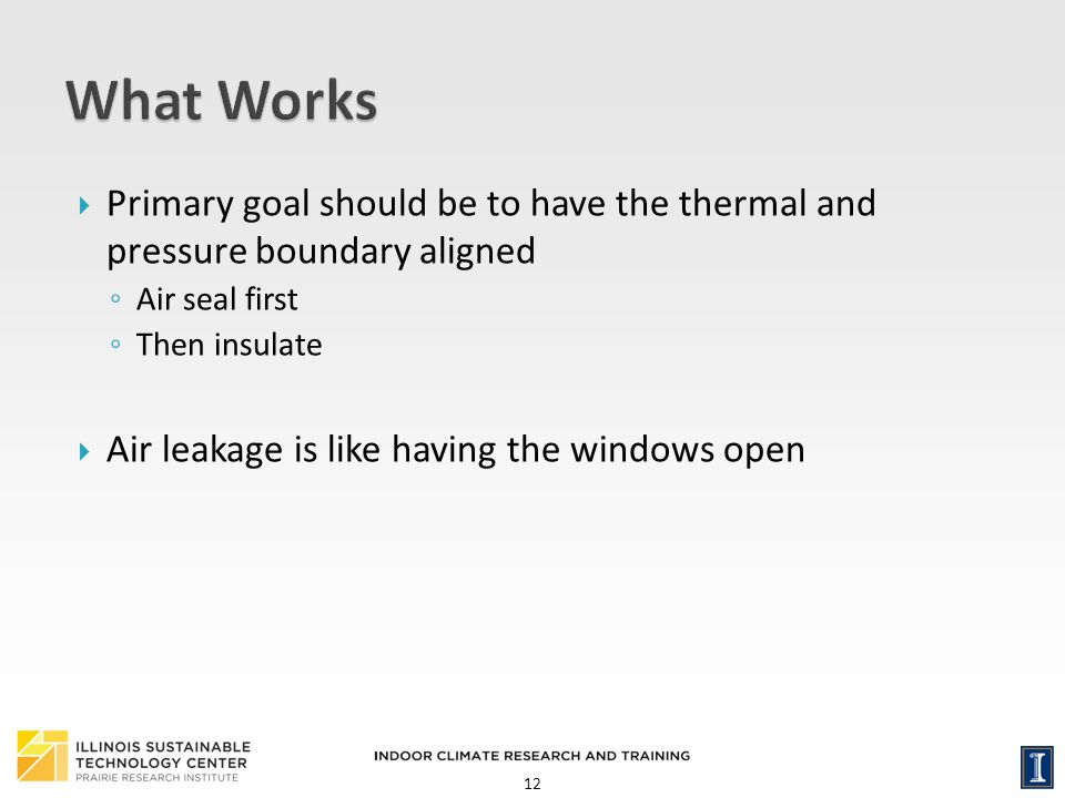 12 Primary goal should be to have the thermal and pressure boundary aligned Air seal first Then insulate Air leakage is like having the windows open