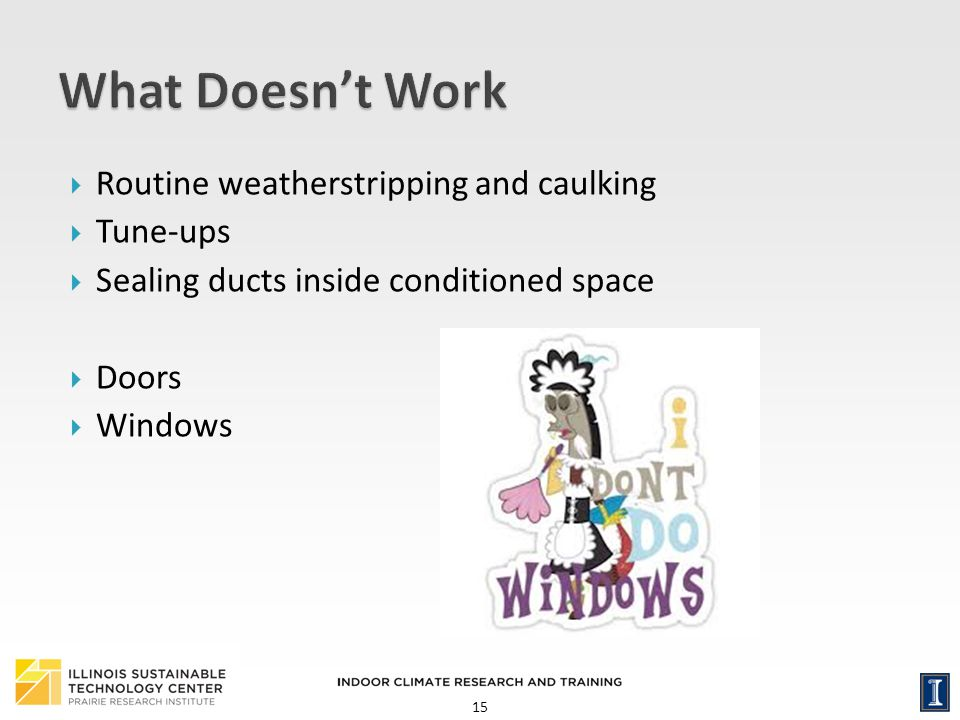 15 Routine weatherstripping and caulking Tune-ups Sealing ducts inside conditioned space Doors Windows