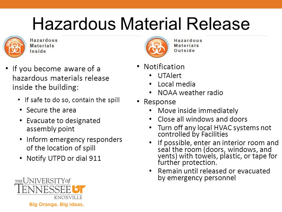 If you become aware of a hazardous materials release inside the building: If safe to do so, contain the spill Secure the area Evacuate to designated a