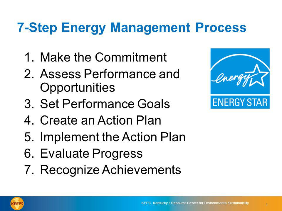 3 KPPC Kentuckys Resource Center for Environmental Sustainability 3 7-Step Energy Management Process 1.Make the Commitment 2.Assess Performance and Opportunities 3.Set Performance Goals 4.Create an Action Plan 5.Implement the Action Plan 6.Evaluate Progress 7.Recognize Achievements