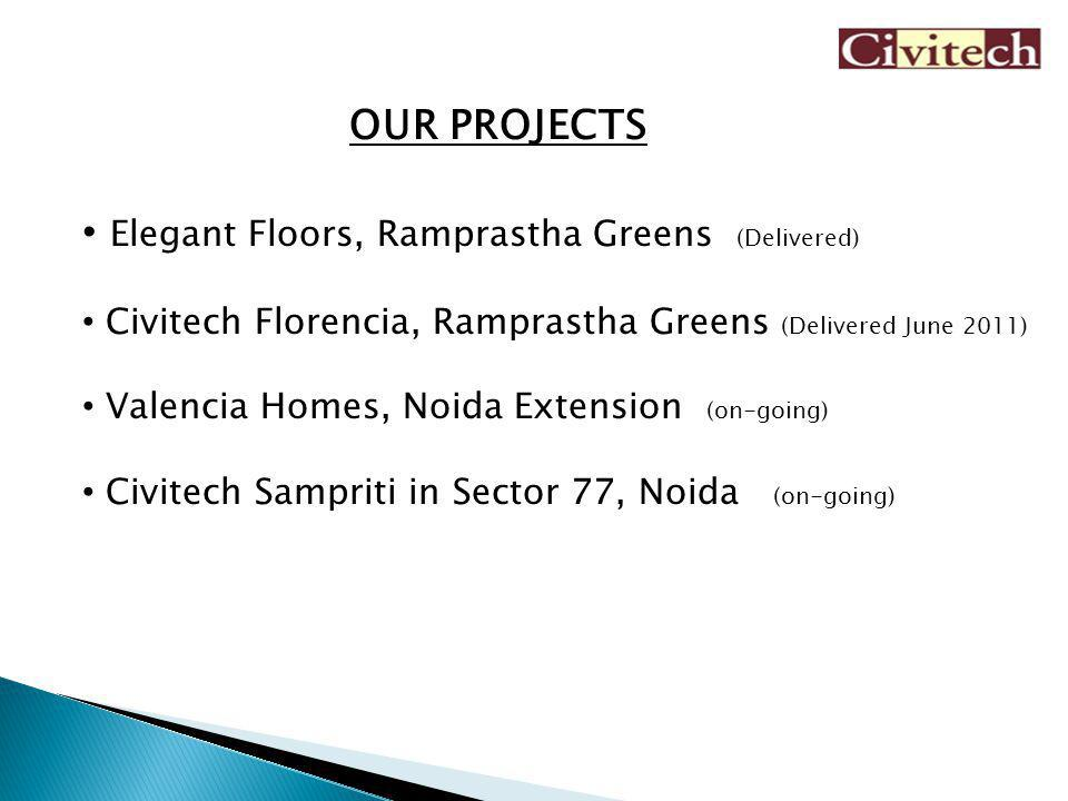 OUR PROJECTS Elegant Floors, Ramprastha Greens (Delivered) Civitech Florencia, Ramprastha Greens (Delivered June 2011) Valencia Homes, Noida Extension (on-going) Civitech Sampriti in Sector 77, Noida (on-going)