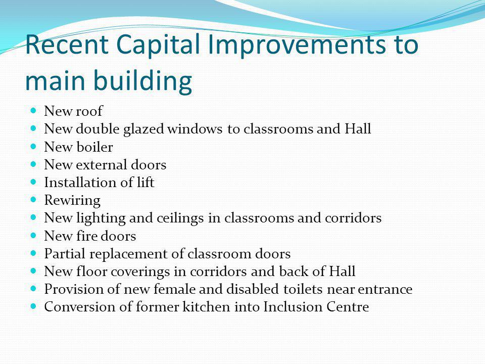 Other recent capital improvements Physiotherapy room in Warner Building Refurbishment of changing rooms – Upper Pavilion and near Gym Demolition of swimming pool (roof condemned) and construction of floodlit MUGA