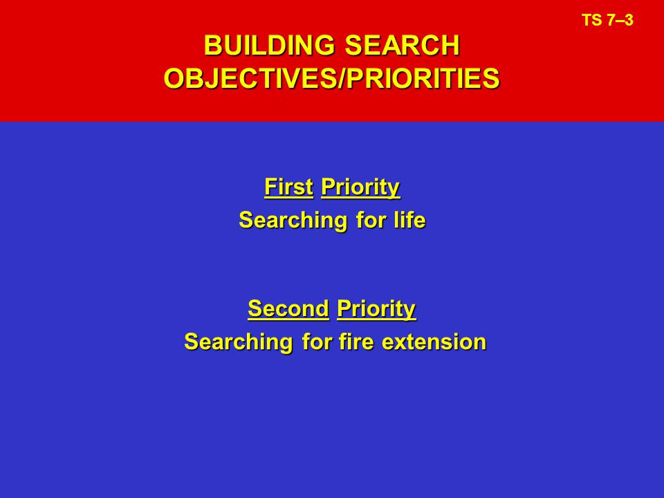BUILDING SEARCH OBJECTIVES/PRIORITIES First Priority Searching for life Second Priority Searching for fire extension TS 7–3