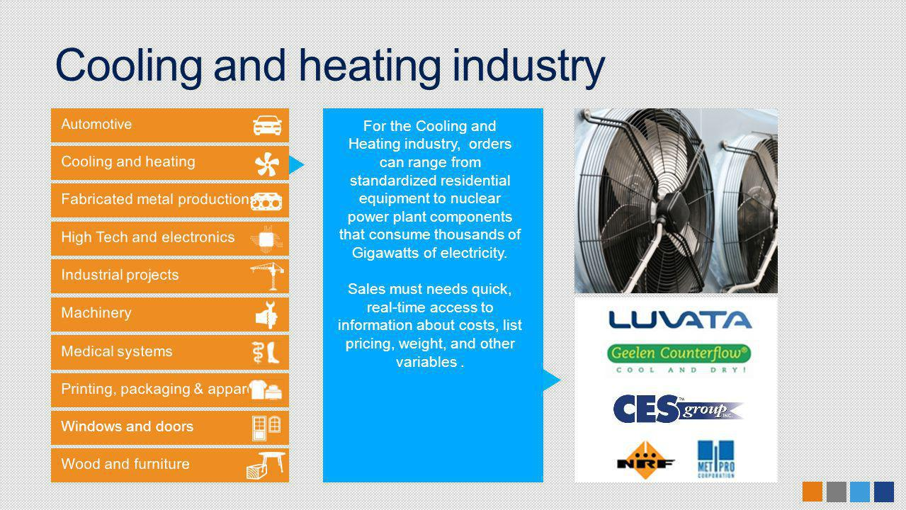 Windows and doors For the Cooling and Heating industry, orders can range from standardized residential equipment to nuclear power plant components that consume thousands of Gigawatts of electricity.