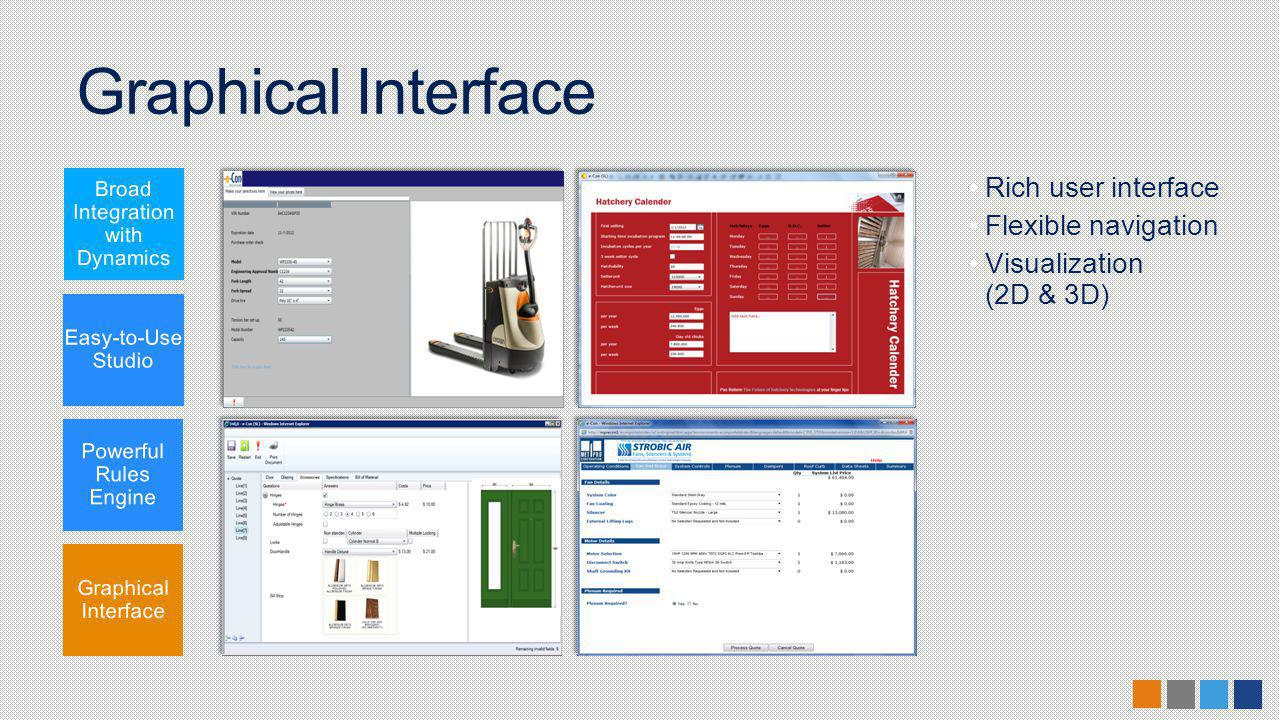 Graphical Interface Rich user interface Flexible navigation Visualization (2D & 3D)