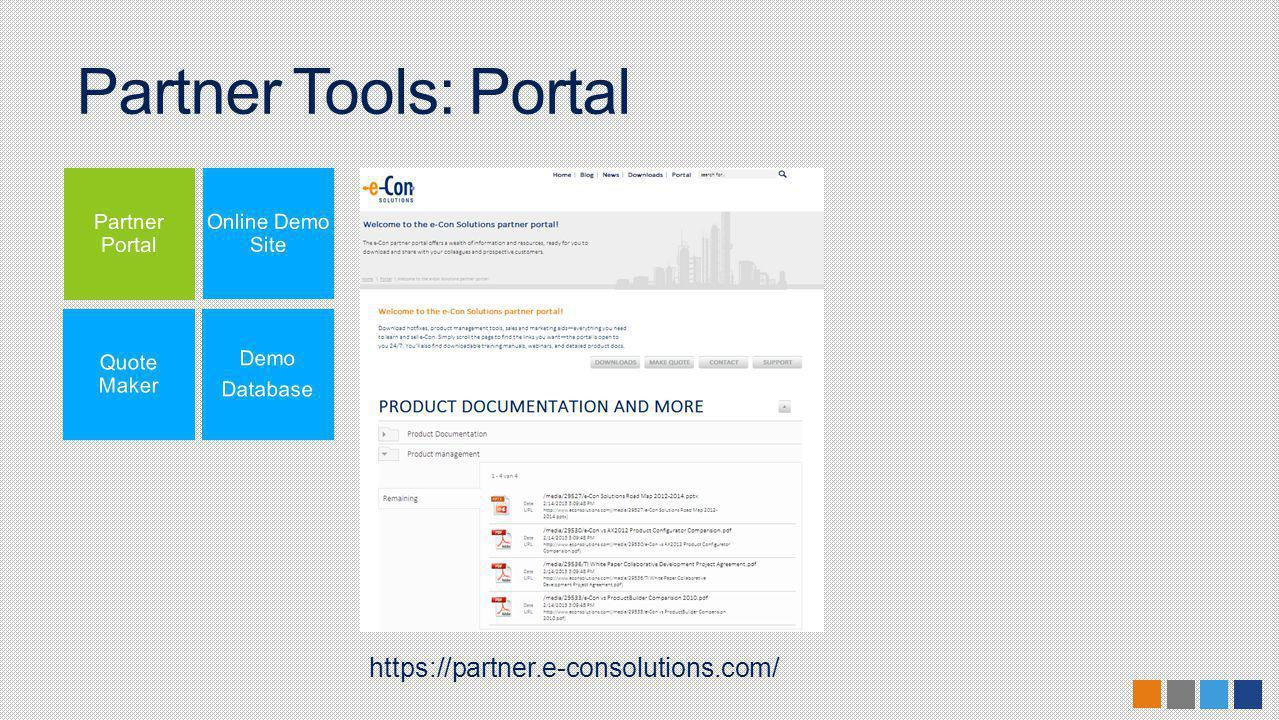 Partner Tools: Portal https://partner.e-consolutions.com/