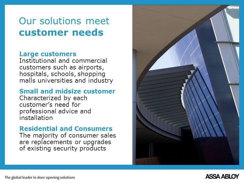 Our solutions meet customer needs Large customers Institutional and commercial customers such as airports, hospitals, schools, shopping malls universi