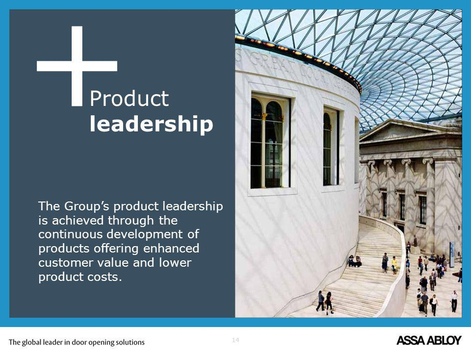 14 + The Groups product leadership is achieved through the continuous development of products offering enhanced customer value and lower product costs.