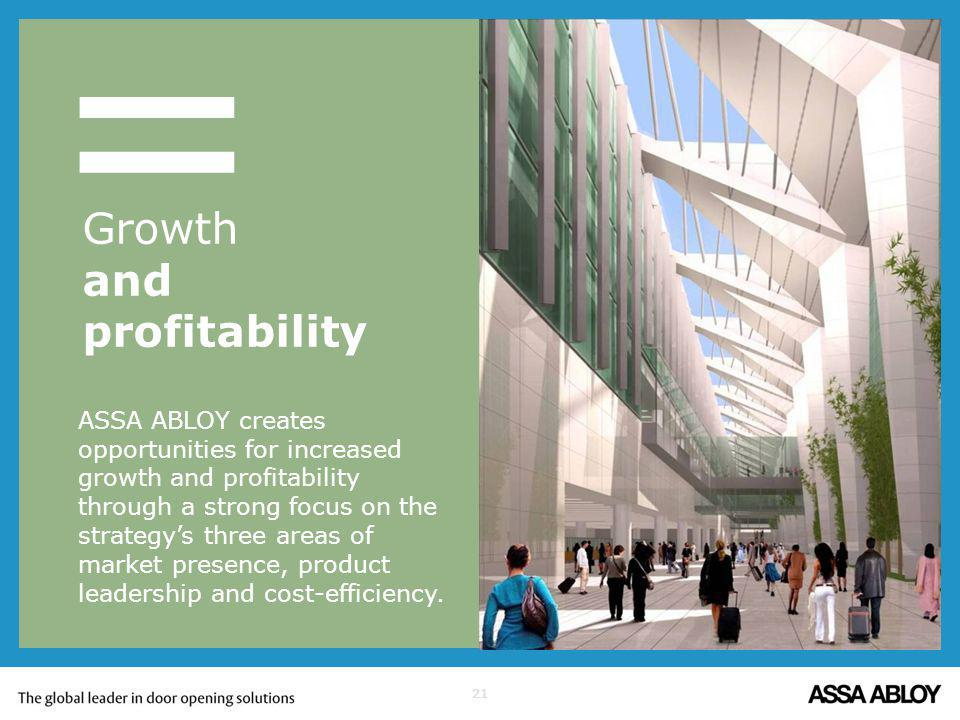 21 = ASSA ABLOY creates opportunities for increased growth and profitability through a strong focus on the strategys three areas of market presence, p