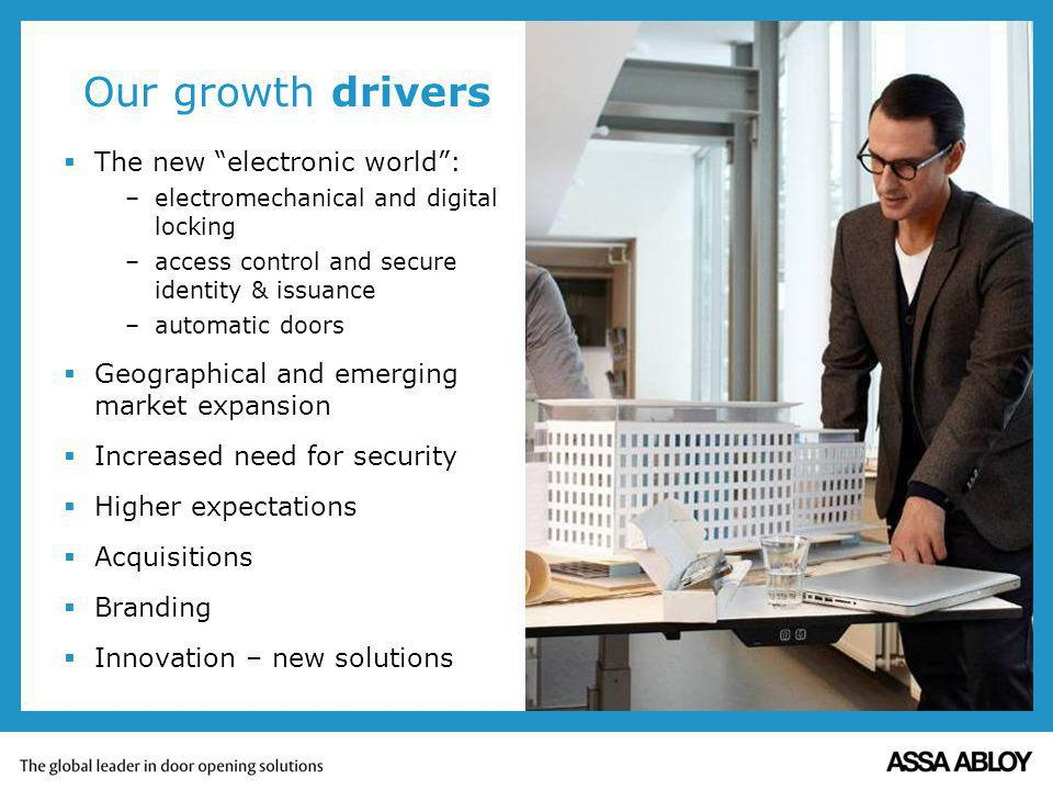 Our growth drivers The new electronic world: –electromechanical and digital locking –access control and secure identity & issuance –automatic doors Ge