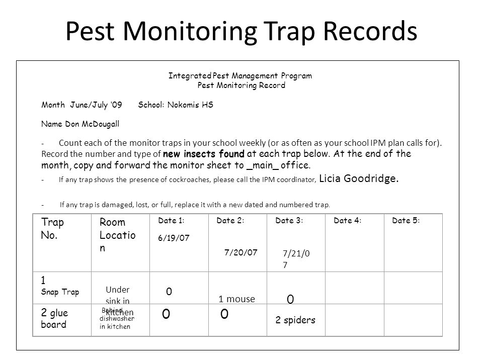 Pest Monitoring Trap Records Under sink in kitchen 7/20/07 Integrated Pest Management Program Pest Monitoring Record Month June/July 09 School: Nokomis HS Name Don McDougall - Count each of the monitor traps in your school weekly (or as often as your school IPM plan calls for).