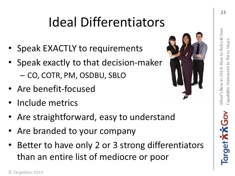 © TargetGov 2014 Ideal Differentiators Speak EXACTLY to requirements Speak exactly to that decision-maker – CO, COTR, PM, OSDBU, SBLO Are benefit-focused Include metrics Are straightforward, easy to understand Are branded to your company Better to have only 2 or 3 strong differentiators than an entire list of mediocre or poor What s New in 2014: How to Refresh Your Capability Statement In Three Steps 23
