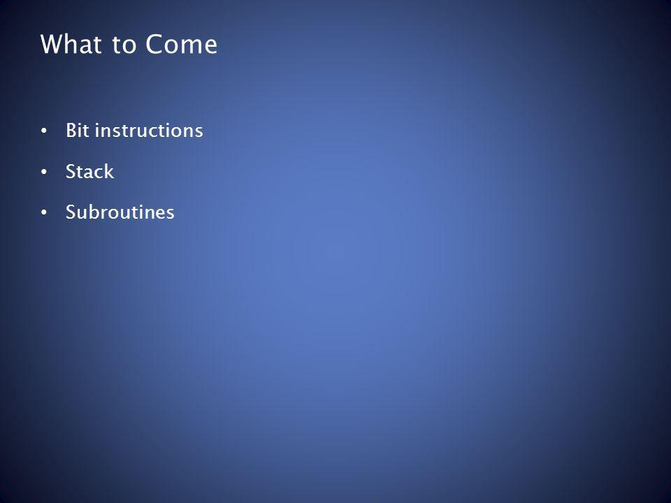 What to Come Bit instructions Stack Subroutines