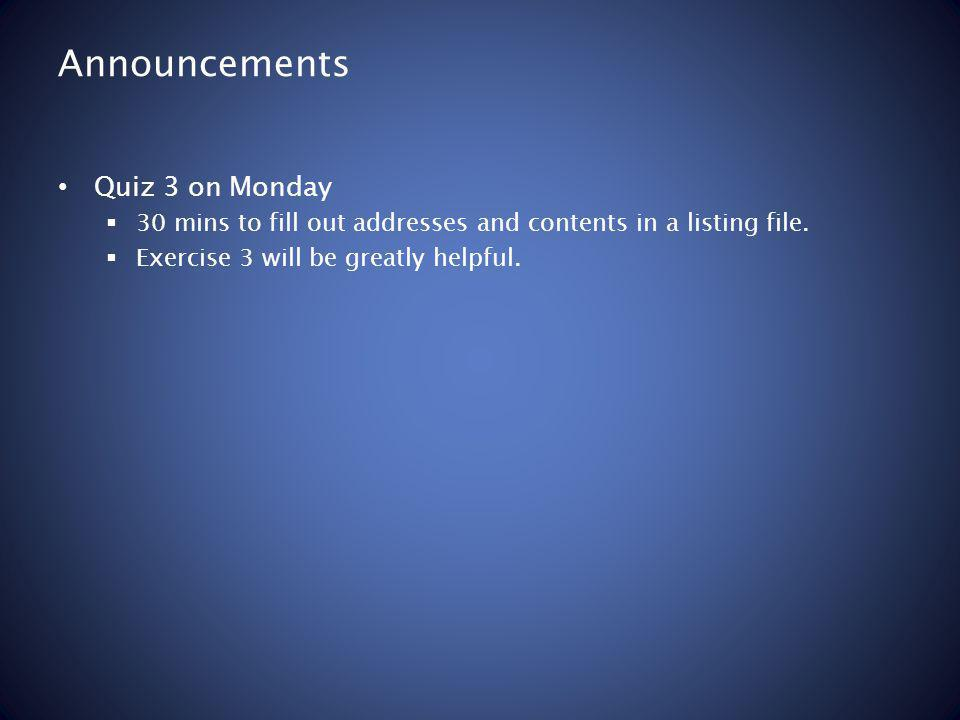 Announcements Quiz 3 on Monday 30 mins to fill out addresses and contents in a listing file.