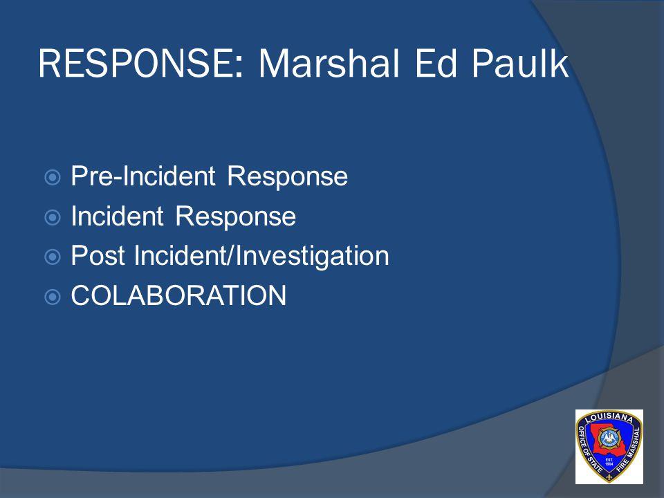 RESPONSE: Marshal Ed Paulk Pre-Incident Response Incident Response Post Incident/Investigation COLABORATION