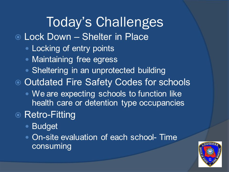 Todays Challenges Lock Down – Shelter in Place Locking of entry points Maintaining free egress Sheltering in an unprotected building Outdated Fire Safety Codes for schools We are expecting schools to function like health care or detention type occupancies Retro-Fitting Budget On-site evaluation of each school- Time consuming