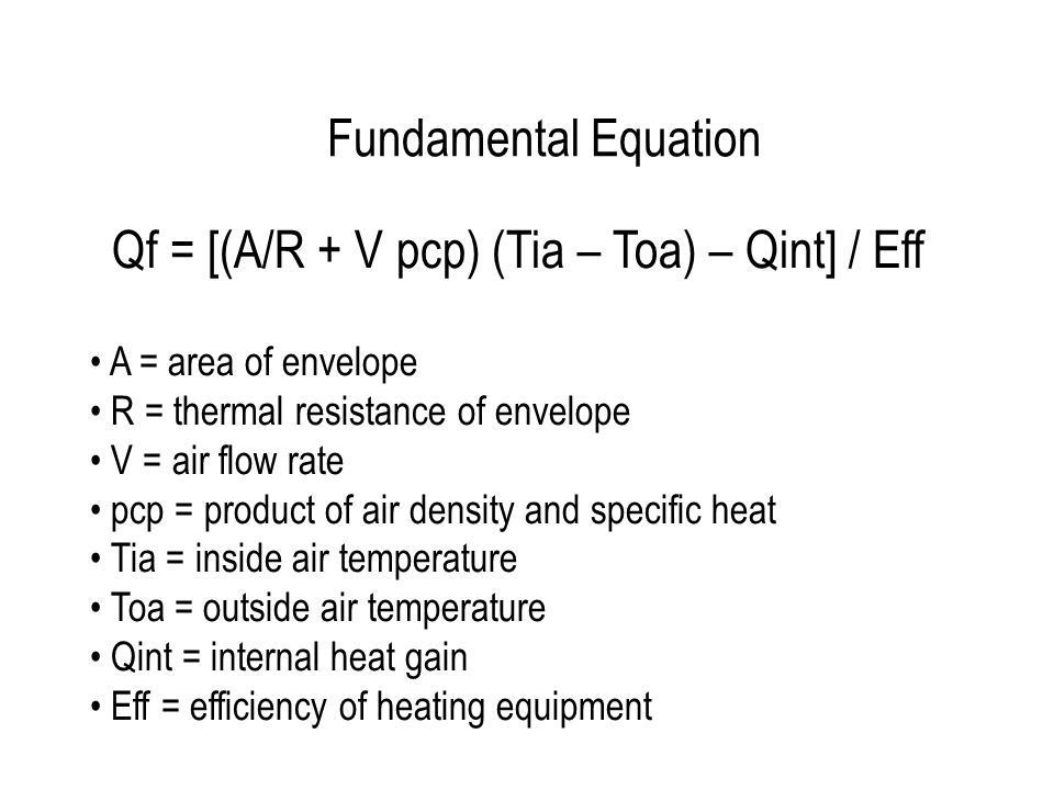 Fundamental Equation Qf = [(A/R + V pcp) (Tia – Toa) – Qint] / Eff A = area of envelope R = thermal resistance of envelope V = air flow rate pcp = pro