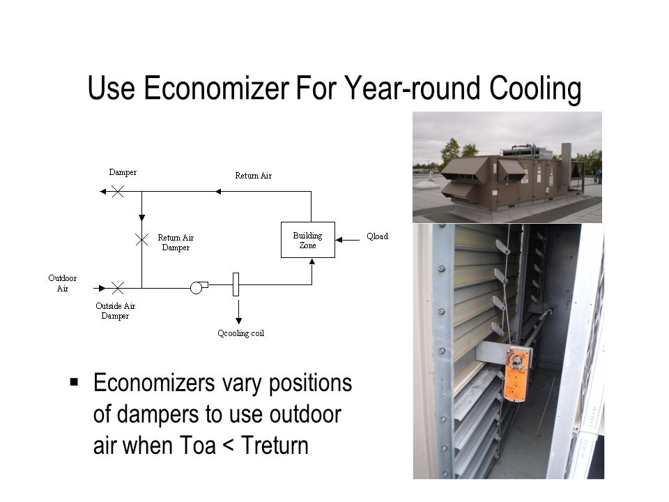 Use Economizer For Year-round Cooling Economizers vary positions of dampers to use outdoor air when Toa < Treturn